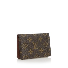 Louis Vuitton-Porte monogramme 2 Cartes verticales-Marron
