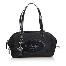 Prada-Sac à main en nylon avec logo-Noir