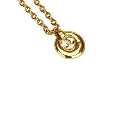 Chanel-Collier pendentif CC-Doré