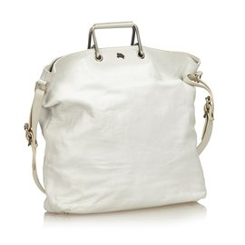 Burberry-Leather Satchel-White