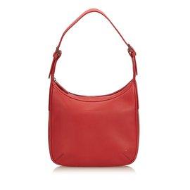 Burberry-Hobo en cuir-Rouge
