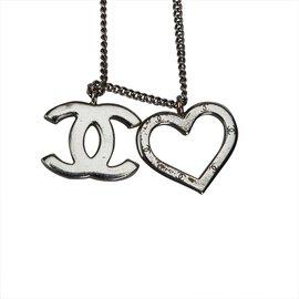 Chanel-Collier pendentif coeur et cc-Argenté