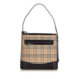 Burberry-Sac à bandoulière en coton écossais-Marron,Multicolore,Beige