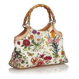 Gucci-Flora Bamboo Handle Sac à main-Blanc,Multicolore,Écru