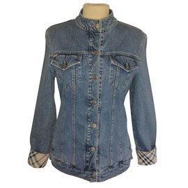 Burberry-BURBERRY Mao collar jeans jacket-Light blue