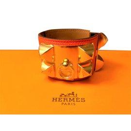 Hermès-Bracelet collier de chien Hermès-Orange
