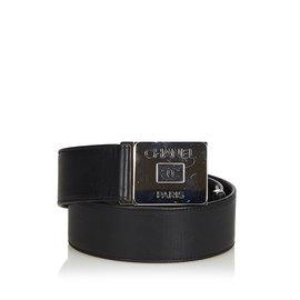 Chanel-Ceinture en cuir-Noir,Argenté