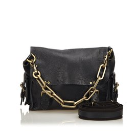 Mulberry-Chain Leather Messenger Bag-Black