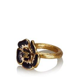 Chanel-Camellia Ring-Black,Golden