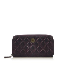 Chanel-Long Portefeuille En Cuir Matelasse-Violet