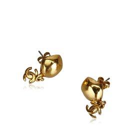 Chanel-Pendants d'oreilles avec clip en or tonique CC-Doré
