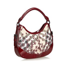 Burberry-Star Print Check Hobo-Red,Multiple colors,Other