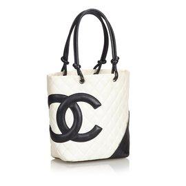 Chanel-Cabas Cambon-Noir,Blanc,Écru