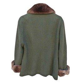 Chanel-Coats, Outerwear-Brown,Khaki
