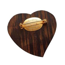 Yves Saint Laurent-broche coeur bois exotique Yves Saint Laurent-Marron