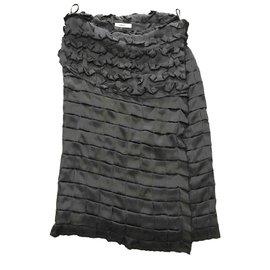 Céline-jupe en soie celine brend noir avec étiquette-Noir