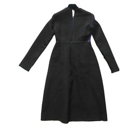 Céline-CUBE DRESS lined FACE CACHMERE AND BLADE WOOL-Black,Blue