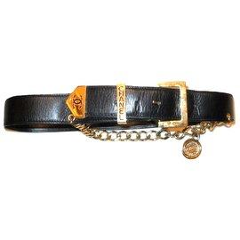 Chanel-CHANEL ceinture cuir lisse noir-Noir,Doré