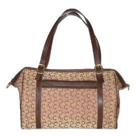 Céline-CELINE vintage travel bag Boston canvas Sulky brown-Brown