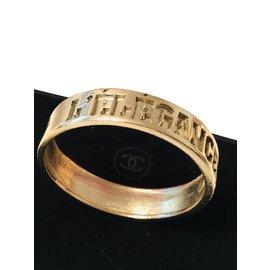 Chanel-Bracelet jonc chanel vintage et rare-Doré