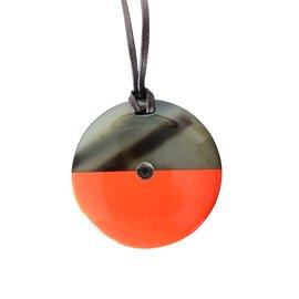Hermès-Sautoir en corne et laque-Orange