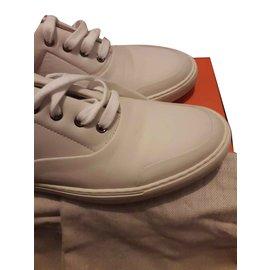 ... Hermès-HERMES - Chaussures Sneakers Cuir-Blanc cassé d6d6d14ff75