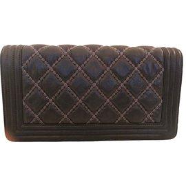 Chanel-Chanel Boy-Silvery,Other,Cognac,Dark grey,Navy blue,Dark blue