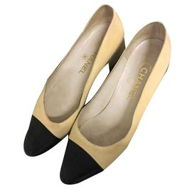 Chanel-Ballerines bicolores Chanel-Noir,Beige