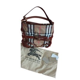 Burberry-Burberry Brown House Check Canvas Medium Bridle Gosford Hobo-Brown