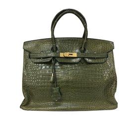 Hermès-Sac Birkin 35 Cuir Croco Vert Veronese-Vert ... 8a0df7d4d1e