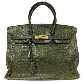 Hermès-Bolsa Birkin 35 Couro Croco em Veronese Vert-Verde