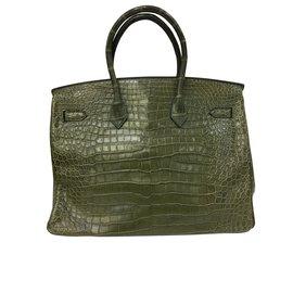 Hermès-Sac Birkin 35 Cuir Croco Vert Veronese-Vert