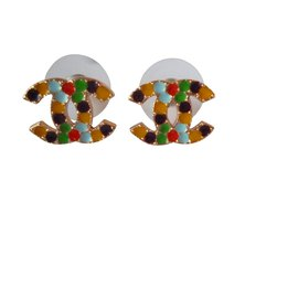 Chanel-Boucles d'oreilles-Multicolore