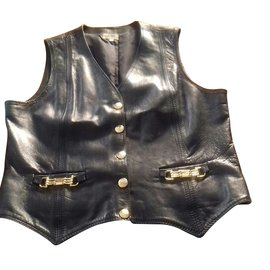 Céline-Celine gilet in leather jacket-Black