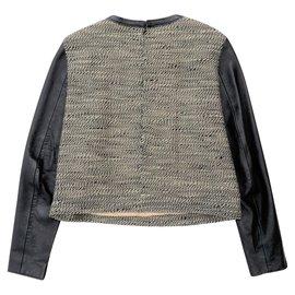 3.1 Phillip Lim-Pull tweed à manches en peau d'agneau-Noir