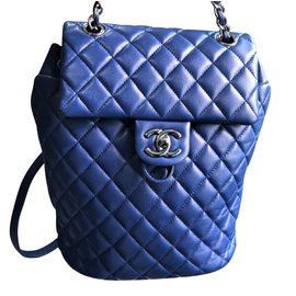 Chanel-Chanel Blue backpack with silver hardware-Black