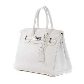 Hermès-Hermès Birkin 30 en cuir Togo blanc en très bon état !-Blanc