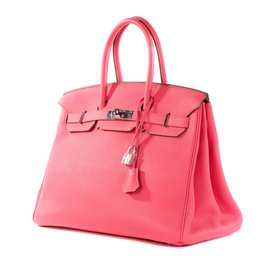 Hermès-Superbe et rare Hermès Birkin 35 en cuir Togo Lipstick, PHW en excellent état !-Rose