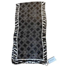 Balmain-BALMAIN PARIS NEW SILK SCARF-Black,White