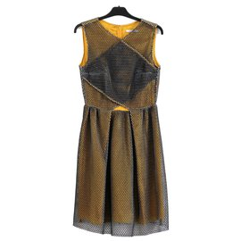 Carven-mesh honeycomb dress-Black,Golden