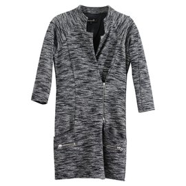Isabel Marant-Boucle optic runway dress-Black,White,Grey