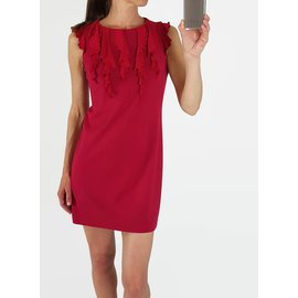 Red Valentino-Fitted ruffle dress-Red,Fuschia