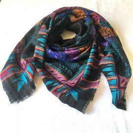 Lanvin-106x108 cm laine/soie-Noir,Violet,Turquoise