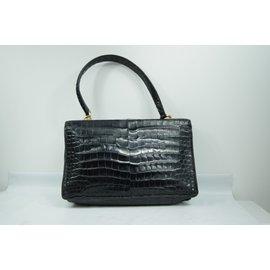 "Hermès-Hermès. Sac ""Demi Lune"" en crocodile 1950-Noir,Doré"