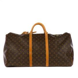 Louis Vuitton-Sac de voyage Louis Vuitton Keepall 60 en toile monogram et cuir naturel, bon état général !-Marron
