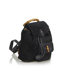 Gucci-Mini sac à dos en cuir de daim bambou-Noir