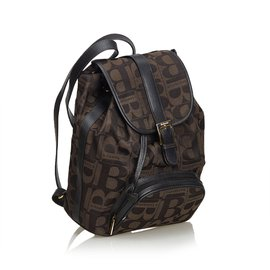 Burberry-Canvas Drawstring Backpack-Brown,Black,Dark brown