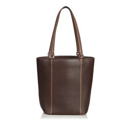 Burberry-Leather Tote Bag-Brown,Dark brown
