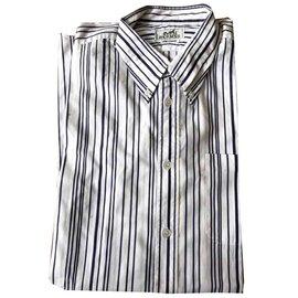 Hermès-chemises-Blanc,Violet