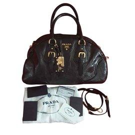 Prada-PRADA Black Printed Glace Leather Dome Bowler Bag BL0417-Black